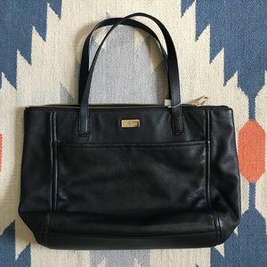 [Kate Spade] Black, leather tote.